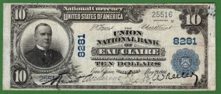 {eau Claire} $10 02pb The Union National Bank Of Eau Claire Wi Ch 8281 Vf photo