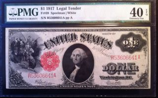 1917 $1 Legal Tender Note - - Pmg Graded As 40 Epq Extremely Fine photo