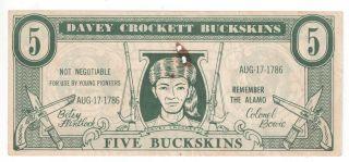 Davey Crockett Buckskins Play Money - Copyright 1955 - 5 Buckskins photo