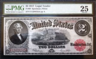 1917 $2 Legal Tender Note - Great Color & Detail - Pmg Graded As 25 Very Fine photo