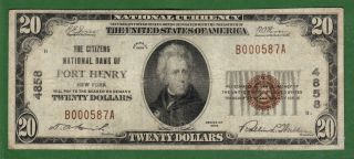 {port Henry} $20 The Citizens Nb Of Port Henry Ny Ch 4858 Vf photo