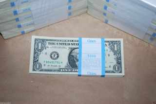 (50) $1 U.  S.  Dollar Bills 2009 Uncirculated Consecutive Serial Notes Dollars photo