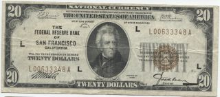 Series 1929 $20 National Currency - San Francisco photo