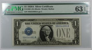 1928a One Dollar $1 Silver Certificate Fr 1601 (gb Block) Pp C Pmg Cu - 63 Epq Ww photo