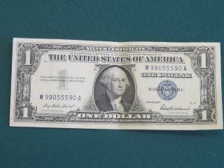 1957 One Dollar George Washington Silver Certificate Serial M 99055590 A photo