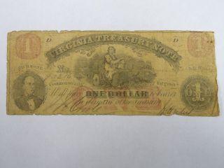 1862 $1 Dollar Virginia Treasury Richmond Va Obsolete Note Civil War Days 3408 photo
