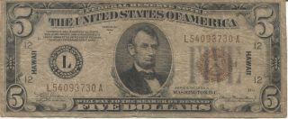 Series 1934 A $5 Hawaii Silver Certificate photo