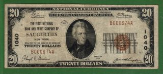 {saugerties} $20 The First Nb & Trust Co Of Saugerties Ny Ch 1040 Vf photo