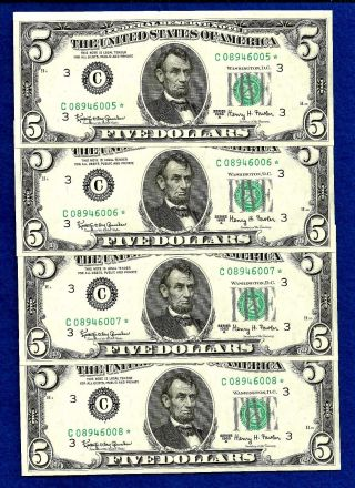 4 1963 A Consecutive & Uncirculated Federal Reserve Five Dollar