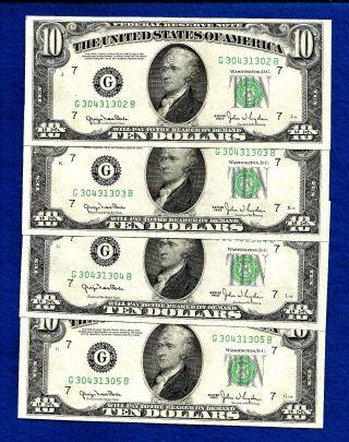 4 1950 Consecutive & Uncirculated Federal Reserve Ten Dollar Notes photo
