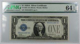 1928a One Dollar $1 Silver Certificate Fr 1601 (gb Block) Pmg Cu - 64 Epq Ww photo
