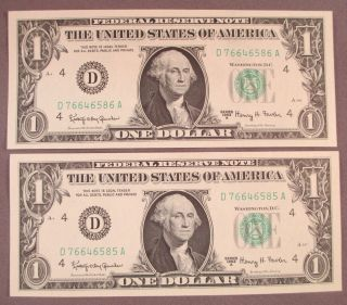 (2) 1963a $1 One Dollar Federal Reserve Notes Sequential Serial S photo
