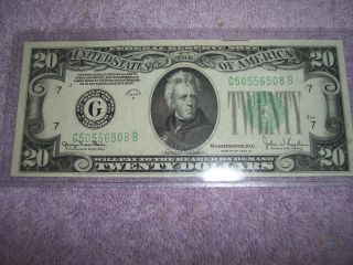 1934 - D $20 Federal Reserve Note With A (g) In The Seal photo