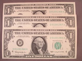 (3) 1963 $1 One Dollar Federal Reserve Notes Sequential Serial S photo