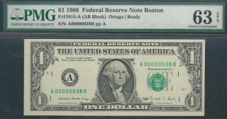 $1 1988==two - Digit Serial==number 38==a00000038b==pmg Ch Unc 63 Epq photo