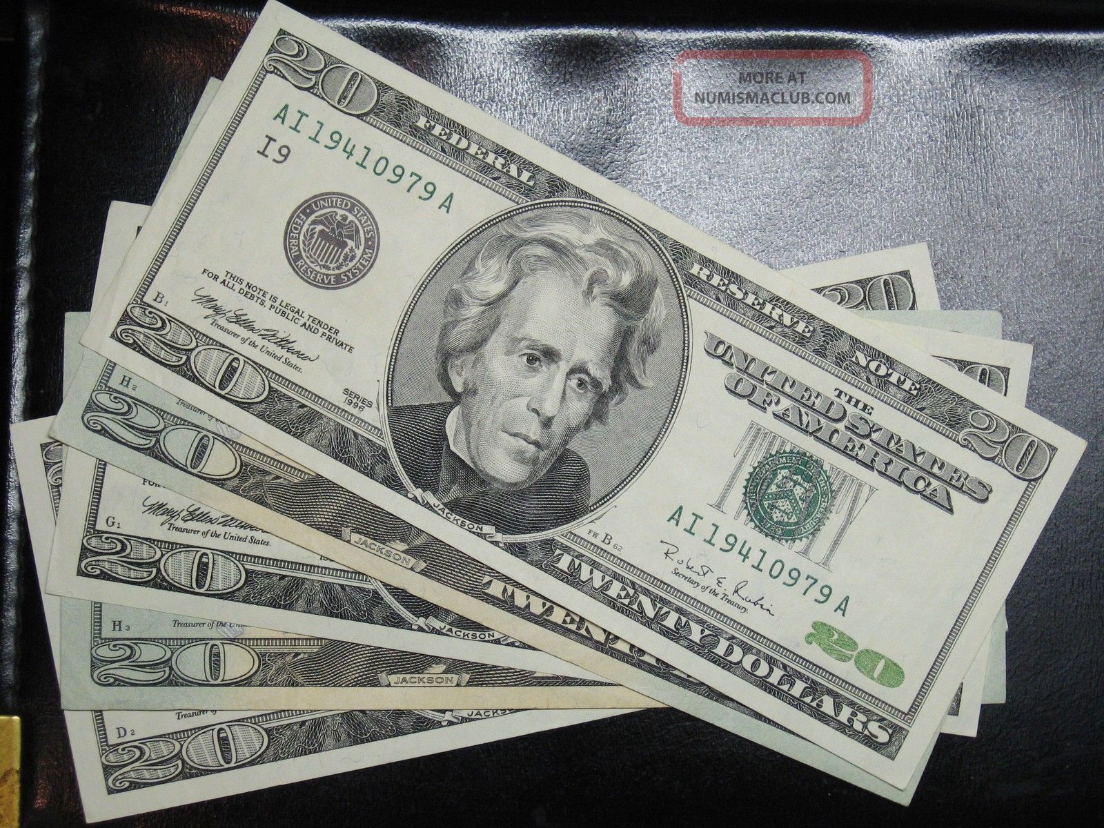 1996 1999 2001 2004 2006 $20 Dollar Federal Reserve Notes As
