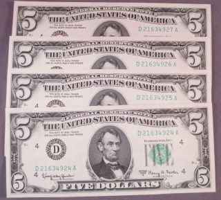 (4) 1963a $5 Five Dollar Federal Reserve Notes Sequential Serial S photo