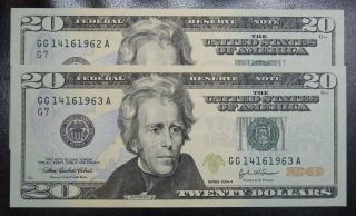 2004 A Consecutive $20 Federal Reserve Notes Grading Gem Cu 1962a Pm5 photo