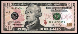 Federal Reserve 10$ 2006 L12 San Francisco A Fw Ten Dollar Bill U.  S.  A Unc photo