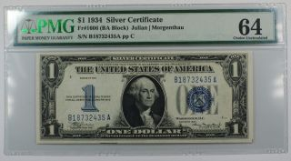 1934 One Dollar $1 Silver Certificate Fr 1606 (ba Block) Pmg Cu - 64 Epq Spots Ww photo