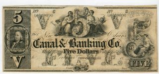 Orleans,  La The Canal & Banking Co.  $5 18__ Cu And Problem photo