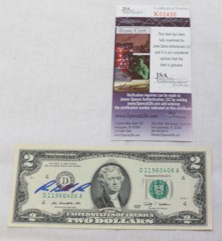 Rosa Rios Signed 2 Dollar Bill Jsa photo