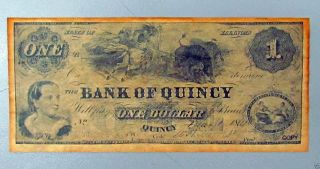 Obsolete Currency Bank Of Quincy One Dollar State Of Illinois photo