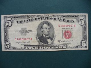 1953 B - 5 Dollar Red Seal.  United States Note photo