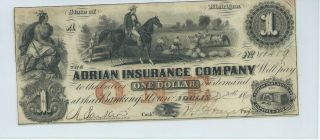 Obsolete Currency Michigan/adrian Insurance $1 186x Issued /signed Chau 10459 photo