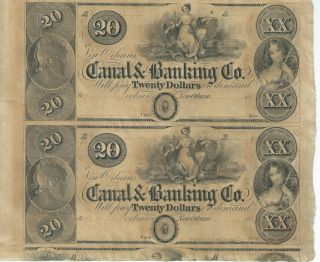 Obsolete Currency Louisana/new Orleans/canal Bank $20 18xx Cu Sheet Of 2 photo