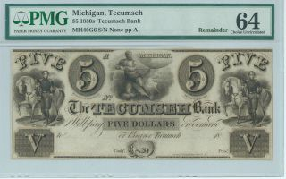 Obsolete Currency Michigan Tecumseh Bank $5 Note Pmg64 Choice Uncirculate Platea photo