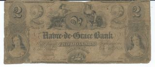 Obsolete Currency Maryland/harve - De - Grace Bank $2 1846 Fine Issued photo