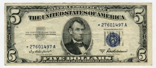 1935 A $5 Star Silver Certificate Crisp Xf,  Problem photo