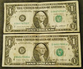 (2) One Dollar Frn - D & G Mints - James Baker Series 1985 Notes photo