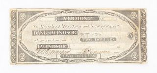 1858 Vermont Bank Of Windsor $2 Two Dollar Bill photo