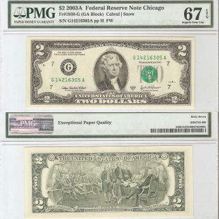 Ch 2003a 2 Dollar Frn Fr 1938 - G Pmg67 Epq Matched Pair photo