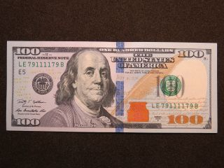 2009a $100 Us Dollar Bank Note Le79111179b Bookend Bill United States Unc photo