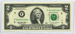 1995 Two (2) Dollar U.  S.  Reserve Note F91409139a In Uncirculatedcondition.  Crisp photo
