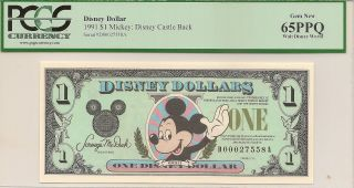 1991 $1 Mickey Disney Dollar Pcgs 65ppq Castle Back Walt Disney World D Series photo