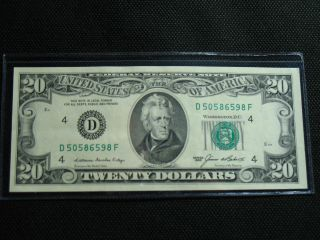 1985 $20 Dollar Bill District D4 Cleveland Small Note Crisp