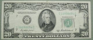 1950 B $20 Dollar Federal Reserve Note Grading Au Chicago 8654c Pm2 photo
