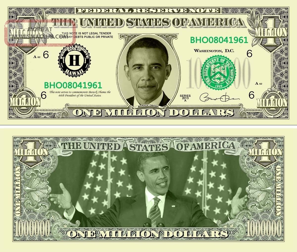 Barack Obama 1 Million Dollar Bills,  Realistic Looking Fake Novelty Funny Money Paper Money: US photo