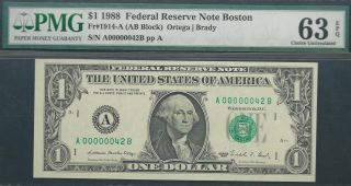 $1 1988==two - Digit Serial==number 42==a00000042b==pmg Ch Unc 63 Epq photo