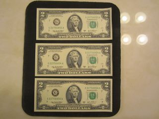 3 Uncirculated $2 Dollar Bills & Crisp,  Sequential Order photo