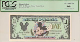 1991 $1 Mickey Disney Dollar Pcgs 64 Castle Back Disneyland A Series photo