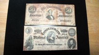 Combo 1864 Csa $50 & $100 Notes From Richmond,  Va photo