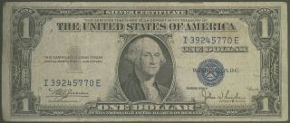 1935 - C $1 Silver Certificate Julian / Snyder Historic Blue Seal Well Circulated photo