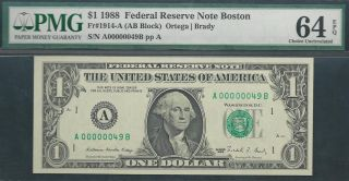 $1 1988==two - Digit Serial==number 49==a00000049b==pmg Ch Unc 64 Epq photo