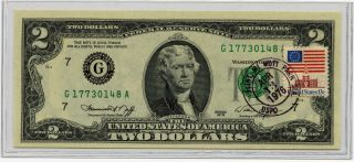 1976 Two (2) Dollar U.  S.  Reserve Note G17730148a Mott Park Issued Collectible photo