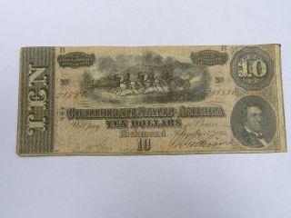 1864 $10 Dollars Va Treasury Richmond Confederate Note Civil War Era 3481 photo